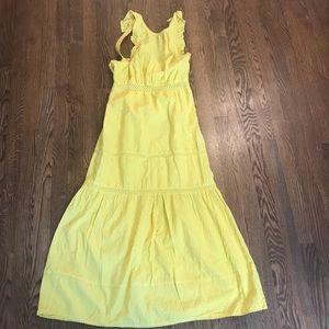 Yellow Topshop Eyelet Cotton Maxi Dress Sz 2
